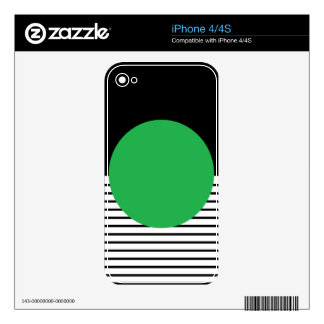 Black and White Stripes with Green Circle iPhone 4S Decal
