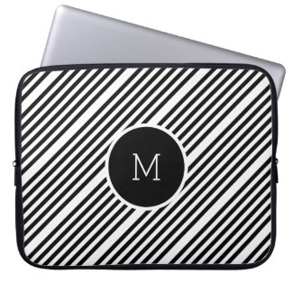 Black And White Stripes With Monogram