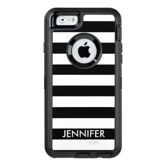 Black and White Stripes With Name OtterBox Defender iPhone Case