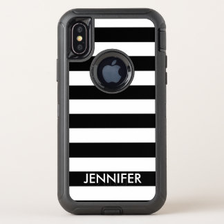 Black and White Stripes With Name OtterBox Defender iPhone X Case