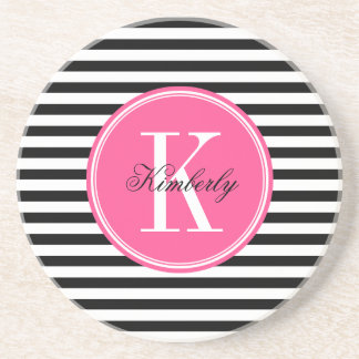 Black and White Stripes with Pink Monogram Coaster