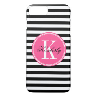 Black and White Stripes with Pink Monogram iPhone 8 Plus/7 Plus Case