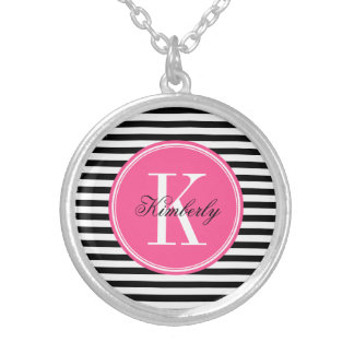 Black and White Stripes with Pink Monogram Silver Plated Necklace