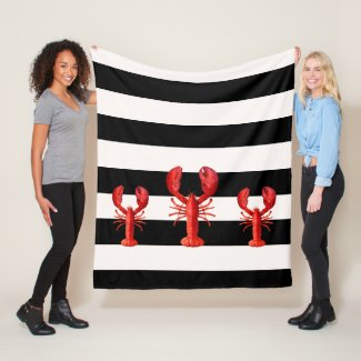 Black and white stripes with red lobsters fleece blanket