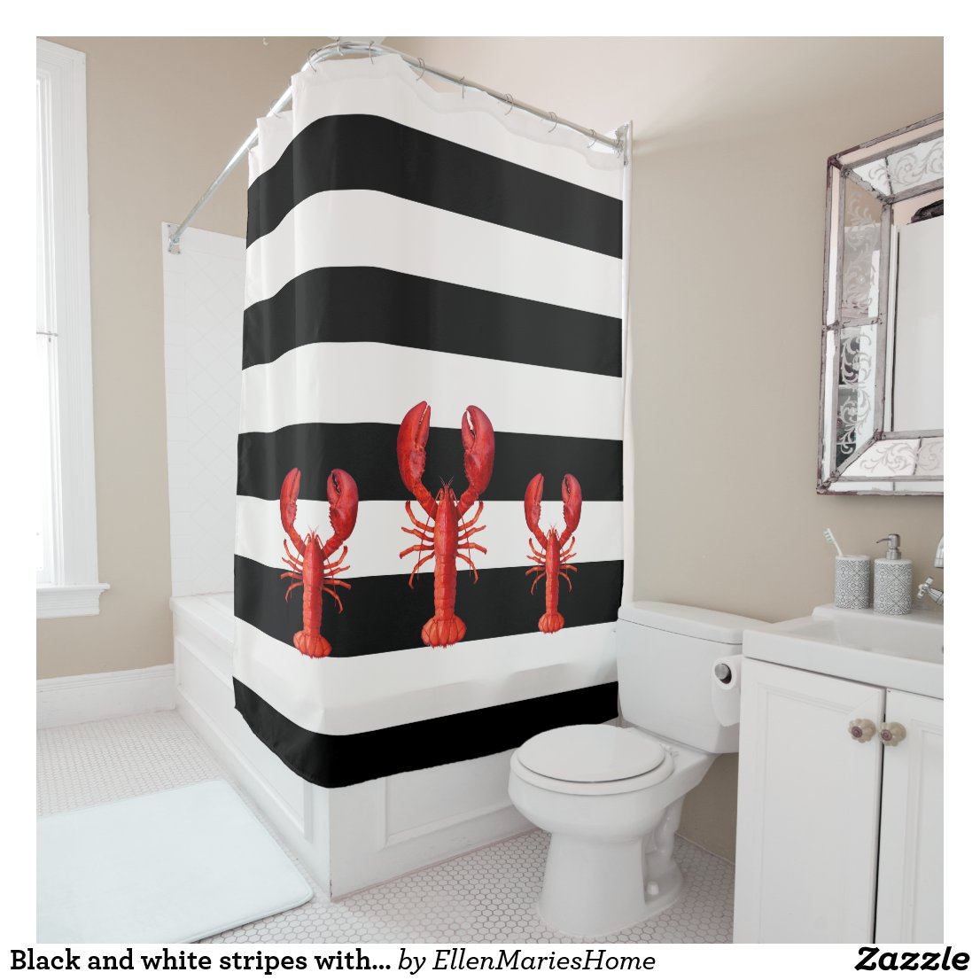 Black and white stripes with red lobsters