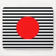 Black and white stripes with red monogram circle mouse pad