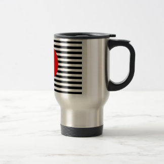 Black and white stripes with red monogram circle travel mug
