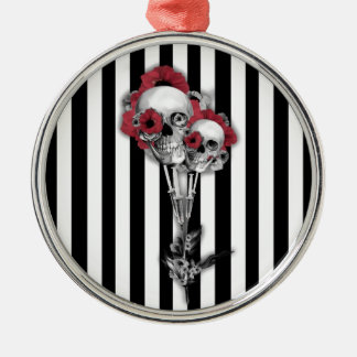 Black and white stripes with skull poppies christmas ornaments