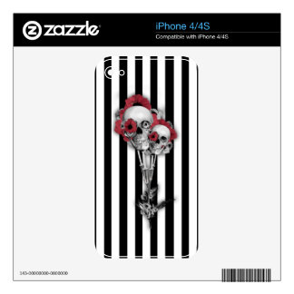 Black and white stripes with skull poppies skins for the iPhone 4