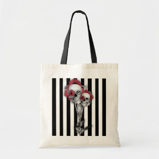 Black and white stripes with skull poppies tote bag