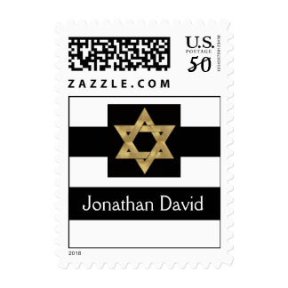 Black and white stripes with Star of David Postage