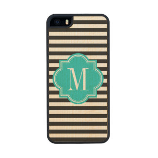 Black and White Stripes with Teal Monogram Carved® Maple iPhone 5 Slim Case
