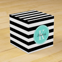 Black and White Stripes with Turquoise Monogram Favor Box