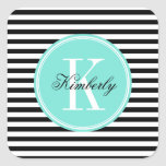 Black and White Stripes with Turquoise Monogram Square Sticker