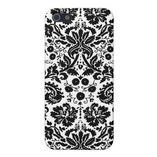 Black and white stylish damask pattern iPhone 5 cases