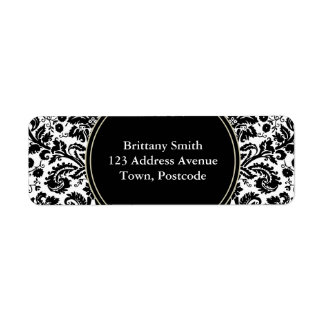 Black and white stylish damask pattern label