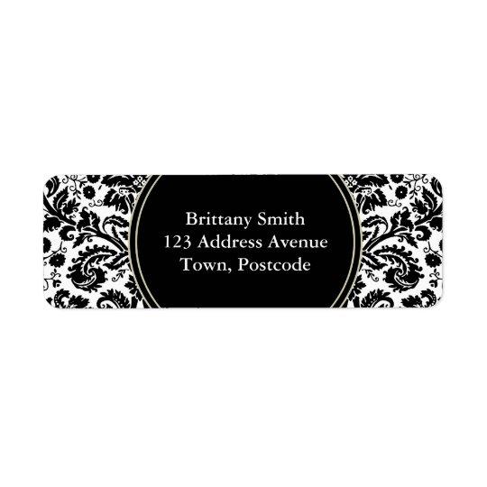 Black and white stylish damask pattern label