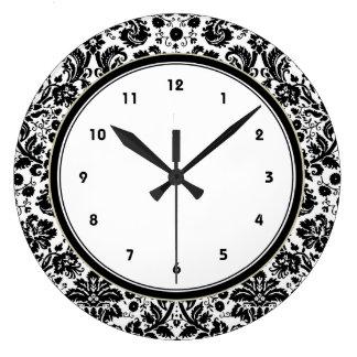 Black and white stylish damask pattern large clock