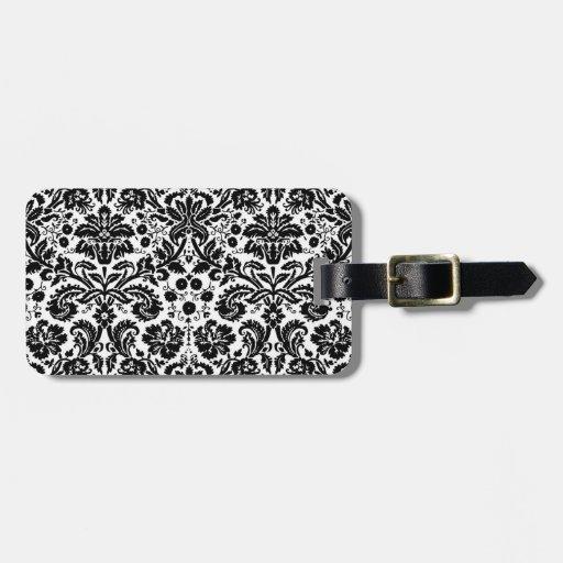 Black and white stylish damask pattern luggage tags