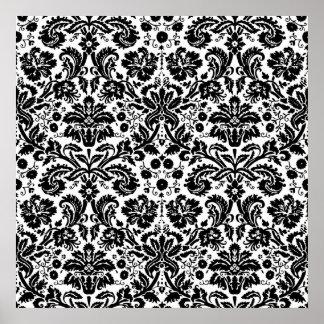 Black and white stylish damask pattern poster