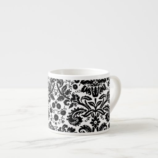 Black and white stylish damask pattern espresso cups