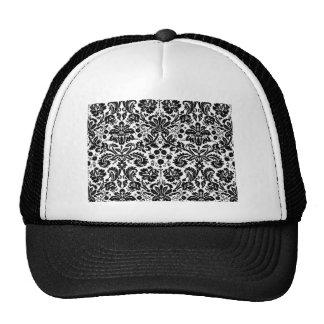 Black and white stylish damask pattern trucker hat