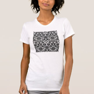 Black and white stylish damask pattern tshirt