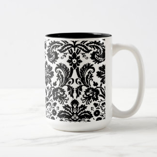 Black and white stylish damask pattern Two-Tone coffee mug