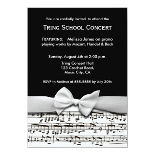 Black and white stylish music recital invitation at Zazzle