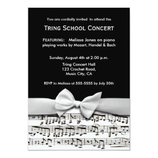 Black and white stylish music recital invitation