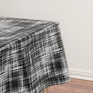 Black And White Stylish Trendy Striped Pattern Tablecloth