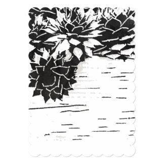 Black and White Succulent 5x7 Invitation Scalloped