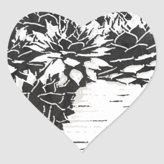 Black and White Succulent Plants Heart Sticker