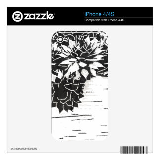 Black and White Succulent Plants iPhone 4S Skins