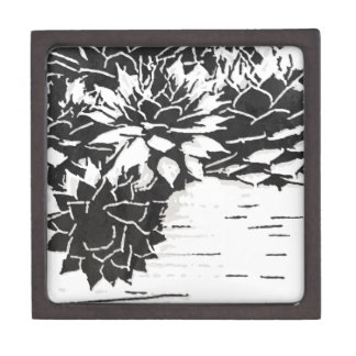 Black and White Succulent Plants Keepsake Box
