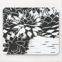 Black and White Succulent Plants Mouse Pad