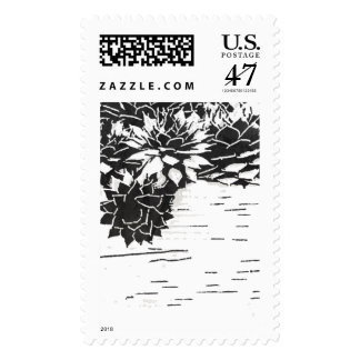 Black and White Succulent Plants Stamp