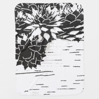 Black and White Succulent Plants Swaddle Blanket