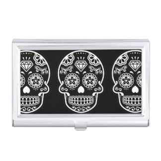 Black and White Sugar Skull Diamond Case For Business Cards