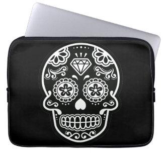 Black and White Sugar Skull Diamond Laptop Sleeve