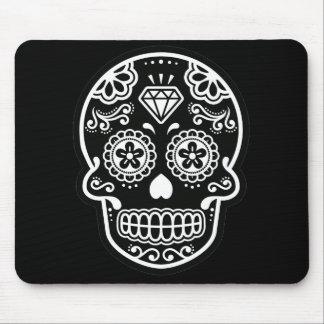 Black and White Sugar Skull Diamond Mouse Pad