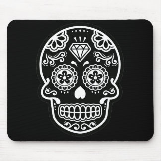 Black and White Sugar Skull Diamond Mouse Pad