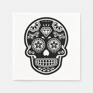 Black and White Sugar Skull Diamond Standard Cocktail Napkin