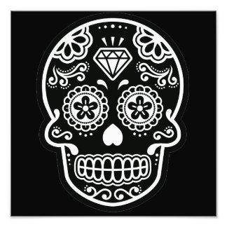Black and White Sugar Skull Diamond Photo Print