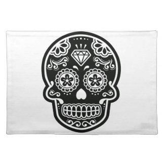 Black and White Sugar Skull Diamond Placemat