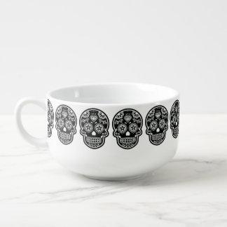 Black and White Sugar Skull Diamond Soup Mug