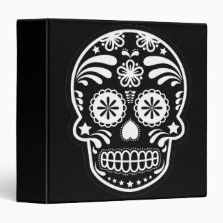 Black and White Sugar Skull Flower 3 Ring Binder