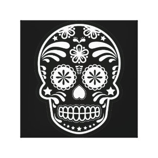 Black and White Sugar Skull Flower Canvas Print