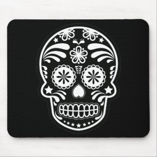 Black and White Sugar Skull Flower Mouse Pad