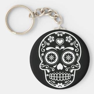 Black and White Sugar Skull Heart Button Keychain